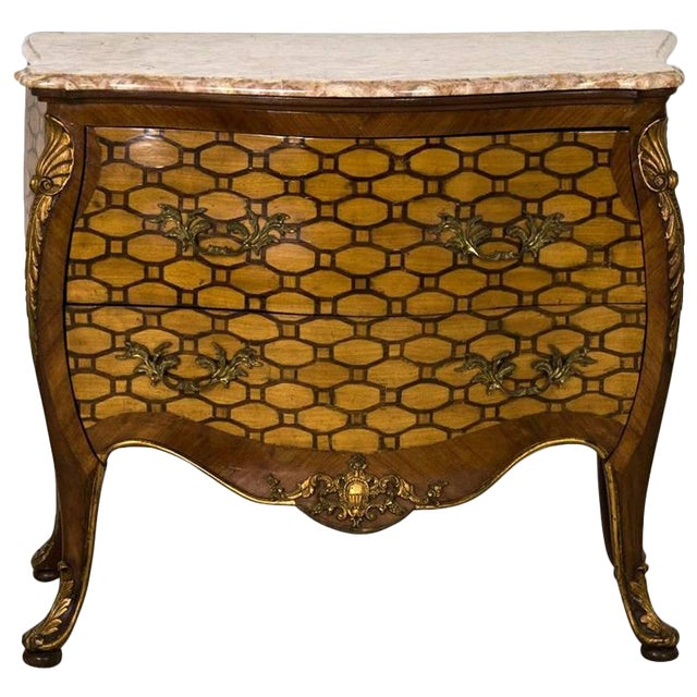 Italian Rococo Style Inlaid Bombe Commode, Late 19th Century For Sale
