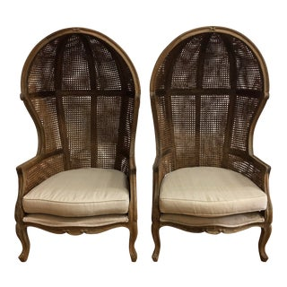 Pair of Porters Style Balloon Caned Chairs For Sale