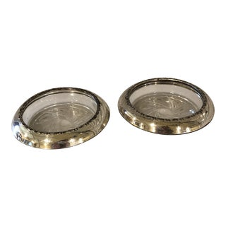 Mid 20th Century Amston Crystal & Sterling Silver Coasters - a Pair For Sale