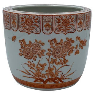 1970s Orange and White Floral Painted Cachepot For Sale