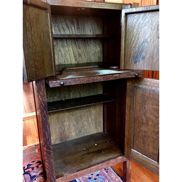 1925 Mission Oak Prohibition Era Liquor Cabinet For Sale - Image 7 of 10