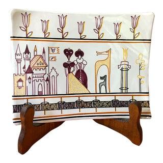 Grazia Deruta Italy Ceramic Art Signed Wall Hanging or Platter For Sale