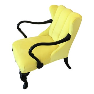 Yellow Velvet Chair With Queen Anne Legs For Sale