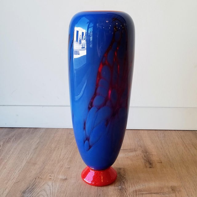 Contemporary Hand Blown Blue and Red Colored Glass Vase For Sale - Image 3 of 9