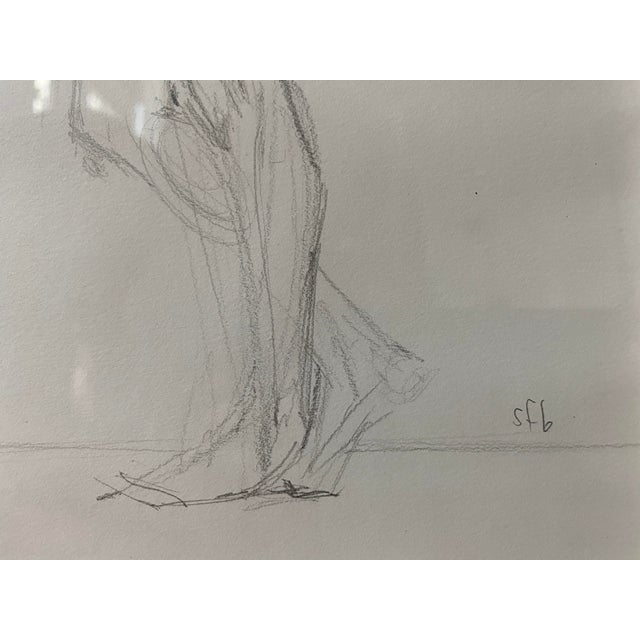 1990s Vintage Nude Figure, Graphite on Paper, Signed Sfb For Sale - Image 5 of 7