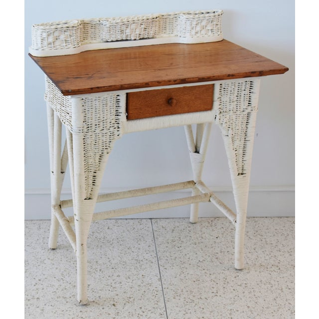 Antique Painted Wicker & Oak Writing Desk Table For Sale - Image 13 of 13