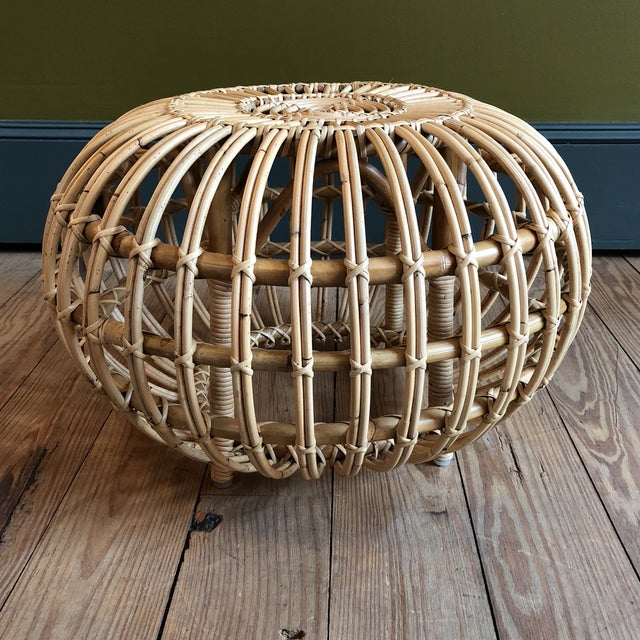 Franco Albini Small Rattan Ottoman - Image 2 of 8