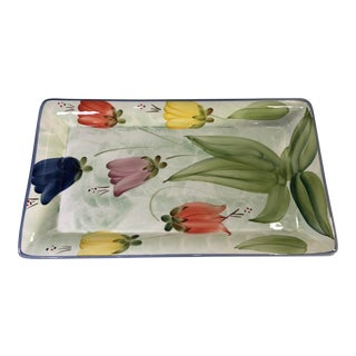 1980s Vintage Sol De Toscana Italian Hand Painted Tulips Tray For Sale