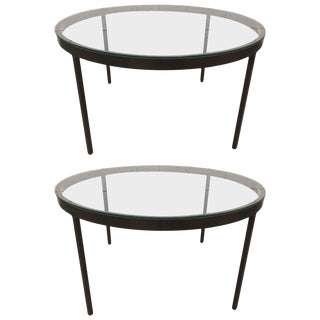 Pair of Bronzed Steel Coffee Table Nicos Zographos For Sale