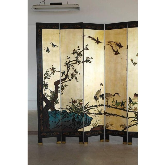 Chinese 12-Panel Double Sided Gold Black Lacquered Coromandel Screen For Sale - Image 4 of 10