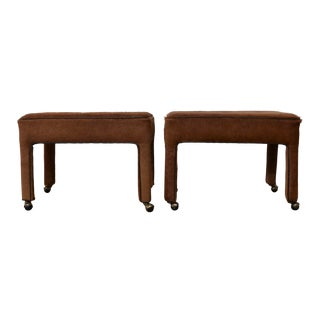 1960s Hair on Hide Leather Parsons Ottomans on Casters - a Pair For Sale