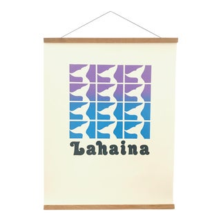 Vintage Lahaina, Maui Screen Printed Whale Travel Poster For Sale