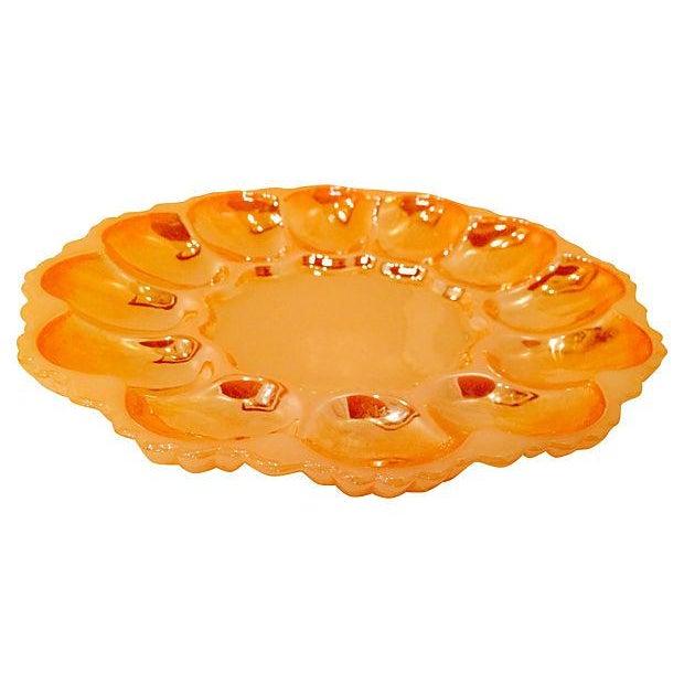 Mid-Century Modern Orange Deviled Egg Plate For Sale - Image 3 of 3