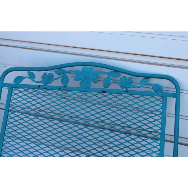 Mid Century Modern Aqua Blue Wrought Iron Patio Set With Lounge on Wheels For Sale In New York - Image 6 of 13