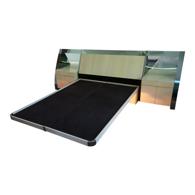 Unique Vintage Ello Floating Bed Platform and Bedside Tables - 3 Piece Set - Image 1 of 10