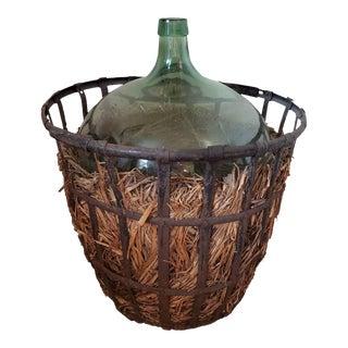 19th Century French Blown Glass Demijohn & Vintner Iron Basket For Sale