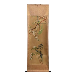 Contemporary Chinese Green Parrot Amid Pear Blossoms Scroll Painting For Sale