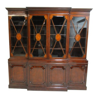 1940's Antique Empire Style Mahogany Hutch Display For Sale