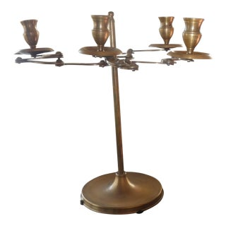 Art Nouveau Mid-Century Brass Articulating Candelabrum For Sale