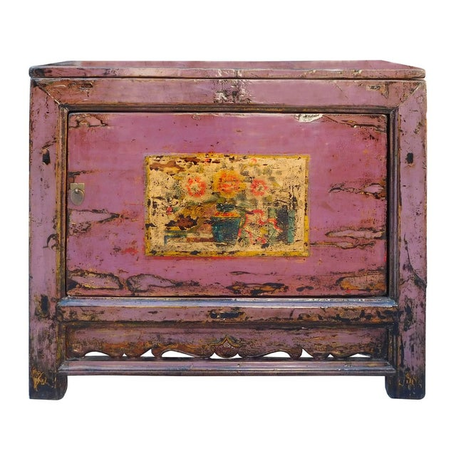 Chinese Floral Cabinet in Rustic Purple - Image 1 of 6
