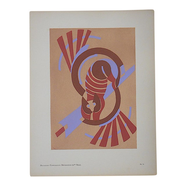 Vintage Serge Gladky Limited Edition Pochoir Print of Abstracted Cat, Circa1928 - Image 1 of 3