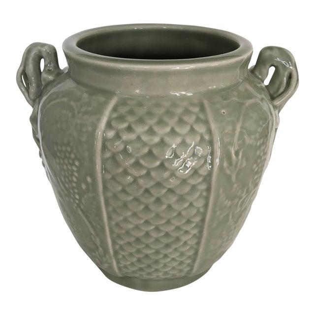Vintage Two Handled Celadon Ginger Jar/Urn For Sale