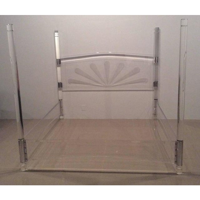 Incredible vintage mid century modern, Lucite and chrome bed in the style of Charles Hollis Jones, four post canopy style,...