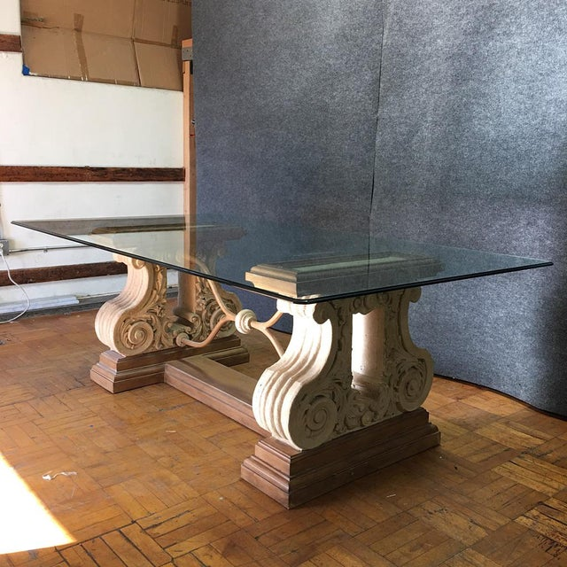 Double Pedestal Stone Base Dining Table W/ Beveled Glass Top For Sale In Los Angeles - Image 6 of 10