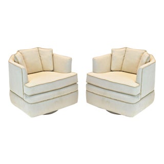 1970s Mid-Century Modern Swivel Chairs - A Pair