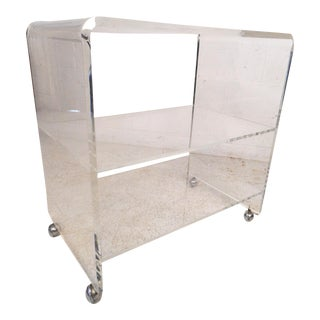 Vintage Modern Lucite Rolling Shelf Unit For Sale