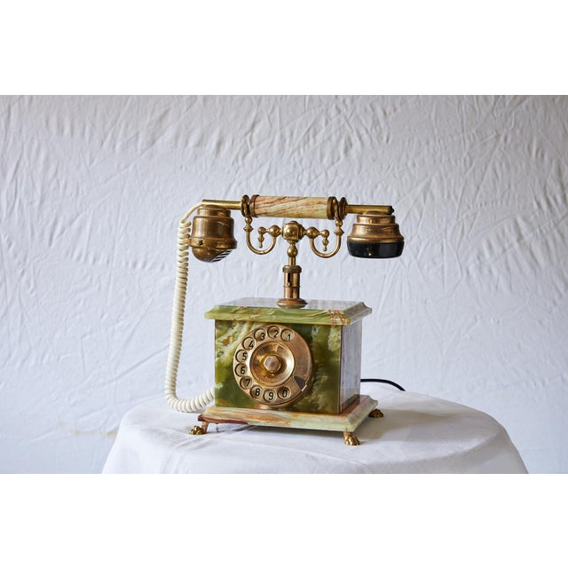 Vintage Italian Green Onyx and Gilded Bronze Telephone For Sale - Image 13 of 13