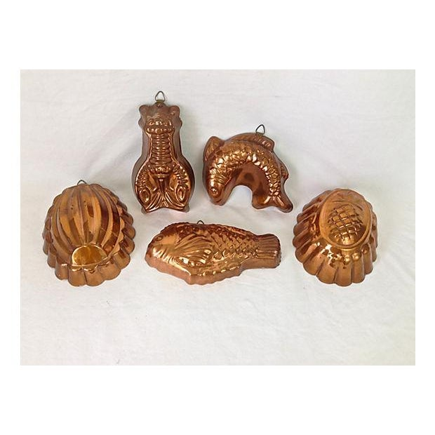 Portugese Kitchen Copper Molds - Set of 5 - Image 3 of 8