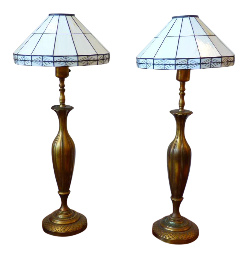 Art Nouveau Solid Brass Table Lamps With Mission Style Slag Glass Shades   Pair