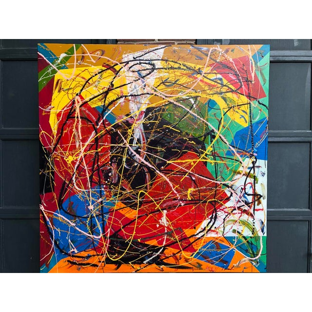 "Acrylic Painting by Artist Troy Smith - Title, Can't Stop. Contemporary Art - Abstraction Dimensions - 48"" x 48"" x 1.5""..."