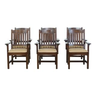 Set of 6 Stickley Mission Oak Arts & Crafts Dining Armchairs For Sale