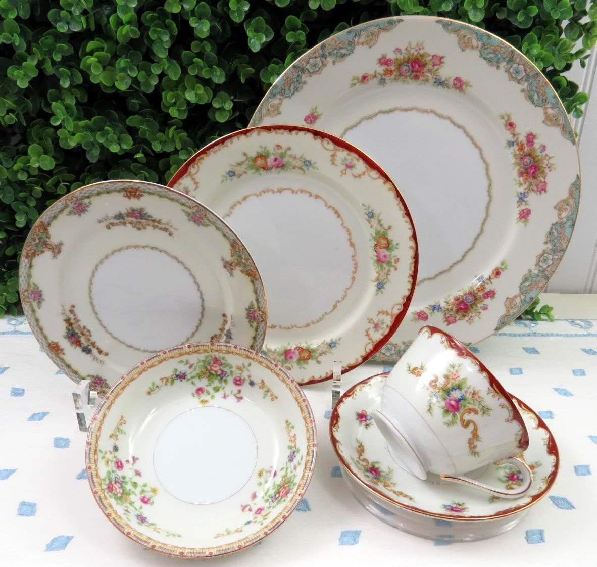 Vintage Mismatched Fine China Dinnerware - Service for 4 (24 Piece Set) - Image & Vintage Mismatched Fine China Dinnerware - Service for 4 (24 Piece ...