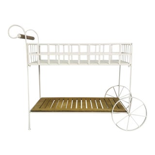 Vintage White Metal With Teak & Stone Bar Cart For Sale