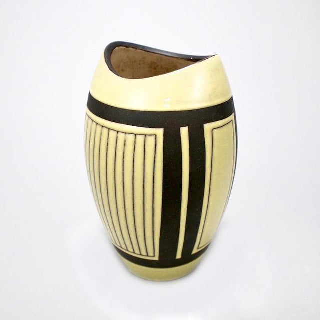 Mid-Century European Yellow & Brown Ceramic Vase For Sale - Image 4 of 7