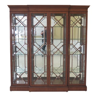 Traditional Karges 4 Door Mahogany Beveled Glass Curio Cabinet For Sale