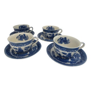 Blue Willow Tea Cup Set For Sale
