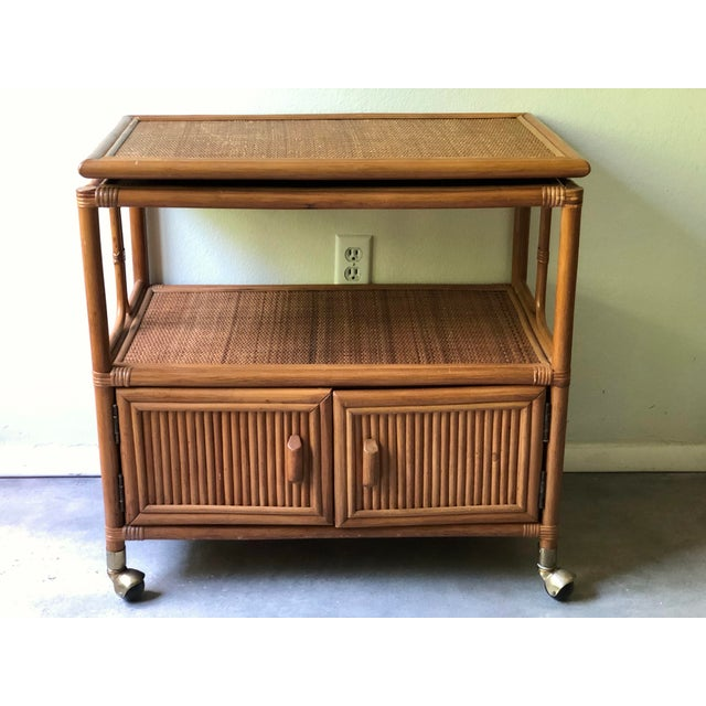 Vintage Mid-Century 1970's Bamboo Ratan Bar Cart For Sale - Image 10 of 11
