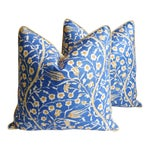 """Clarence House Floral Fabric Feather/Down Pillows 24"""" Square - Pair"""