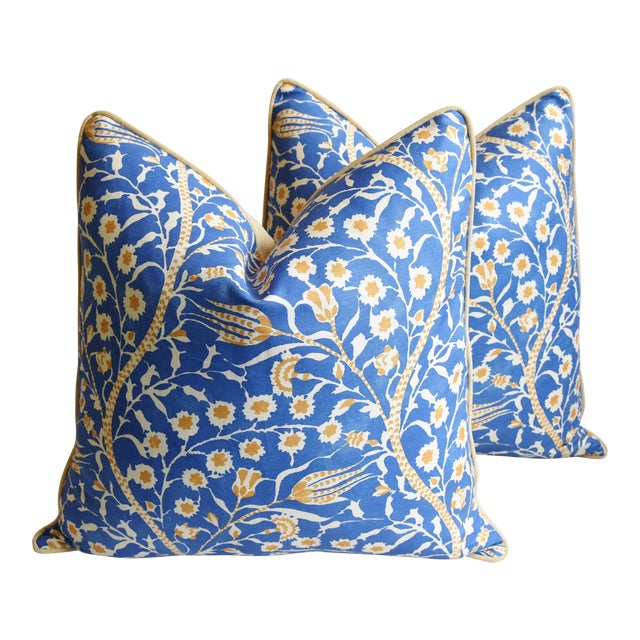 """Clarence House Floral Fabric Feather/Down Pillows 24"""" Square - Pair For Sale"""