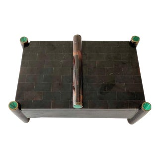 Vintage Maitland Smith Tessellated Box With Malachite and Brass Over Rosewood. For Sale
