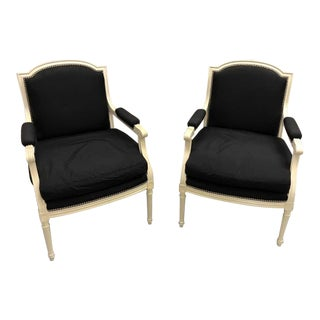 White & Black Club Chairs - A Pair