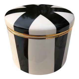 Vintage Black White & Gold Porcelain Lidded Canister