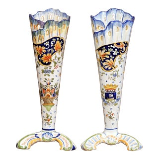 Pair of Early 20th Century French Hand-Painted Faience Vases From Normandy For Sale