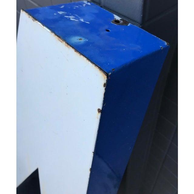 """1950s Large Vintage Blue & White Enamel """"M"""" Building Signage For Sale - Image 5 of 12"""