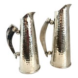 Image of Set of 2 Hand Hammered Alpaca Silver Pitchers With Natural Horn Handle. For Sale
