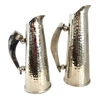 Set of 2 Hand Hammered Alpaca Silver Pitchers With Natural Horn Handle. For Sale